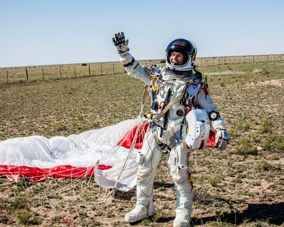 Felix Baumgartner on landing. Photo USAtoday.com