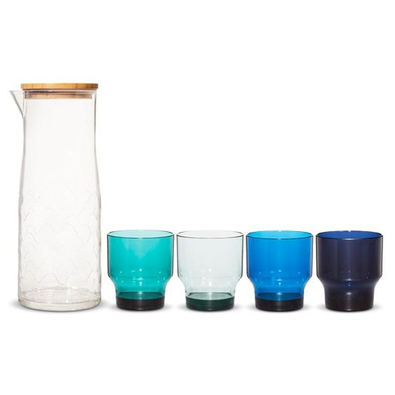 *BOUGHT* For the beach house Carafe Drinkware Set 5 Piece - Lokki Print - Blue