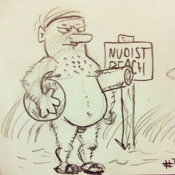 @daily___doodle #daily___doodle #TheLetterN #naked #nude #nudist #beach #doodle #drawing #sketch #cartoon #man #nudism
