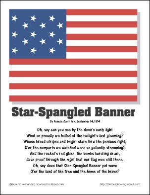 Star Spangled Banner Page - September Worksheets - Teachable Moments ...