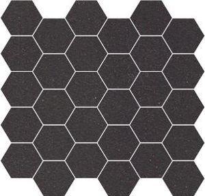 Carrelage mosaique gr s winckelmans noir hexagone 5x5 cm for Carrelage 5x5