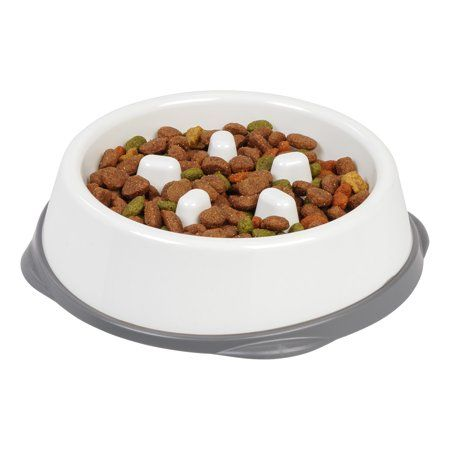 Iris Slow Feeding Bowl For Long Snouted Pets White Gray Dog