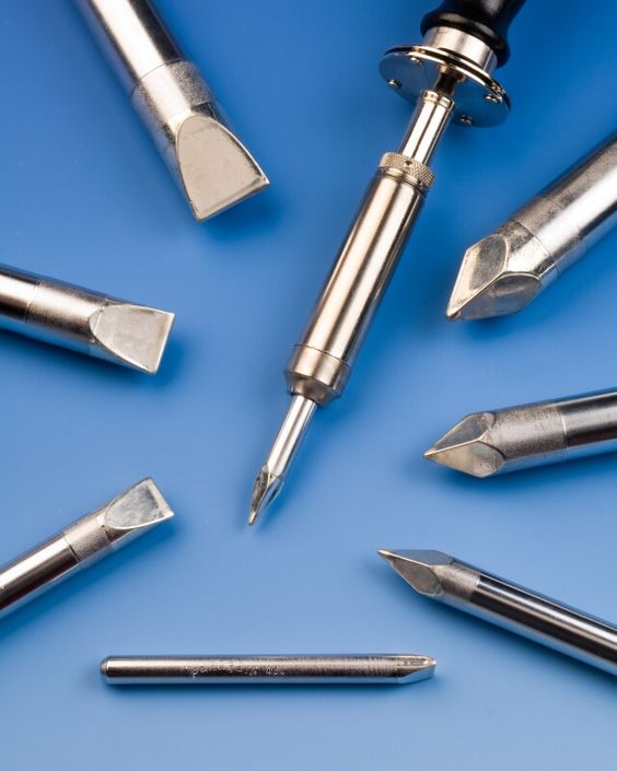 A full line of plug-type soldering iron tips that are professionally pre-tinned to meet strict manufacturing and RoHS compliant standards is available from American Beauty Soldering Tools of Clawson, Michigan.