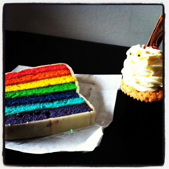 Rainbow slab cake - Teacup and Cakes, Manchester