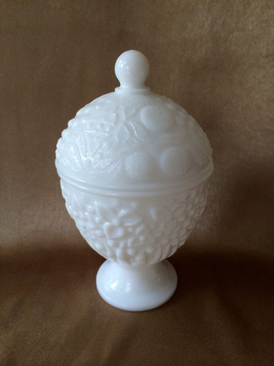 Milkglass Candy dish, Lidded Compote, Avon Vanity Item, Glossy White Glass, Embossed Floral Dish, Sugar Substitute, Holiday gift container