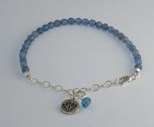 Handmade Blue Jade Gemstone & Hill Tribe Lotus Yoga Charm Sterling Bracelet