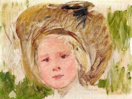 Sketch of Head of a Girl with a Black Rosette Mary Cassatt - circa 1910