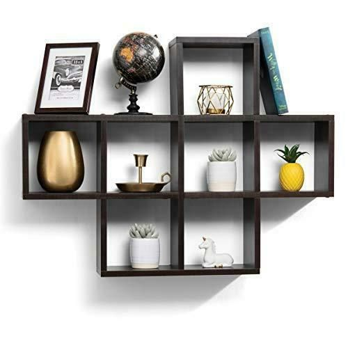 Floating Shelves With 10 Square Cube Wall Espresso Finish Wall 19 90 Cube Shelves Ideas Of Cube Shelves Cube Wall Shelf Wall Mounted Shelves Wall Cubes