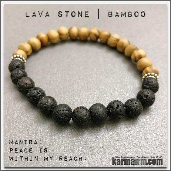 Lava Stone is considered to be a stone of rebirth and shedding unneeded layers of emotional attachment.....Bracelets womens mens I Beaded & Charm Yoga Mala I Meditation & Mantra I Spiritual | karma arm. Lava Stone Bamboo.