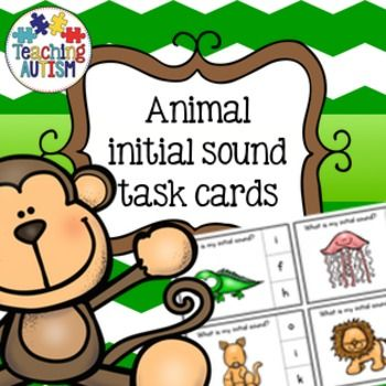 Animal Initial Sounds Task CardsThese task cards include animals starting with every letter of the alphabet so there are 26 task cards in total.They come in black and white and color/colour option for your preference. Please note these are all clipart animals not life like photographs.I recommend cutting out and laminating each task card individually to make them stronger and prolong the use of them.There are 3 choices of answers on the right hand side for students to select the correct…