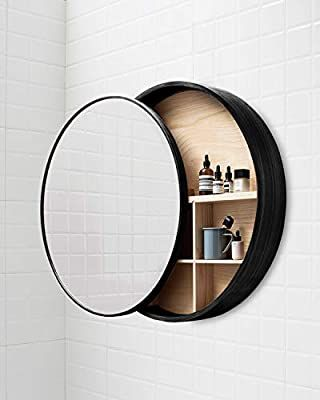 Amazon Com Tinytimes Round Mirror Cabinet Round Vanity Mirror Medicine Cabinet Strong And Bathroom Mirror With Shelf Black Bathroom Mirrors Mirror Cabinets