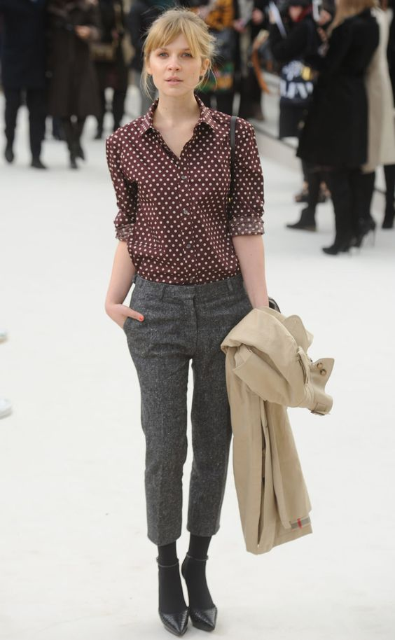 Printed shirt, tweed trousers + pointed heels (Clémence Poésy)