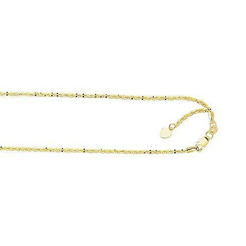 10k Yellow Gold 10 Inch 1.5mm Sparkle Anklet Bracelet Lobster-clasp