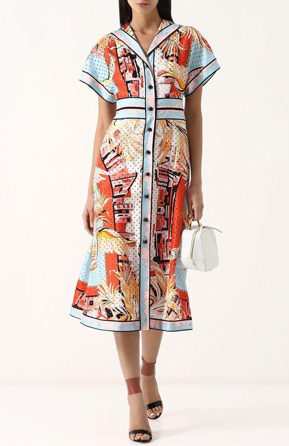 Шелковое приталенное платье-рубашка с принтом Emilio Pucci разноцветное   Фото №2