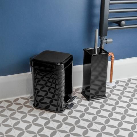 Harbour Housewares Square Steel Bathroom Pedal Bin Toilet Brush