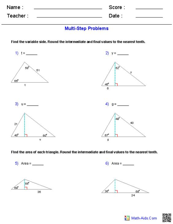 Printables Basic Trigonometry Worksheets trigonometry worksheets and algebra on pinterest multi step worksheets