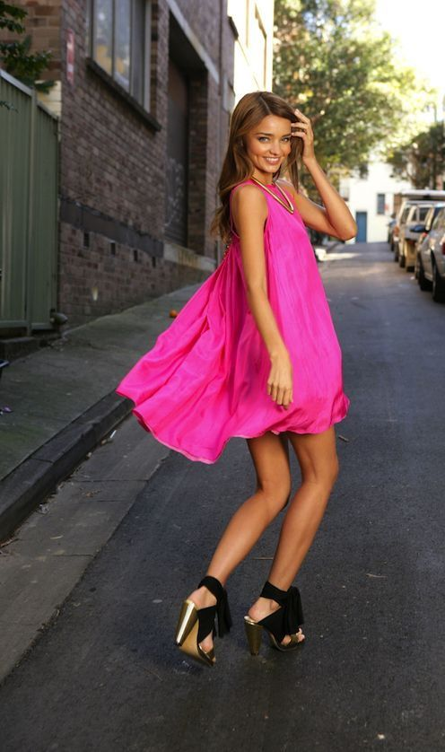 Miranda Kerr Pink Dress 2017 Street Style