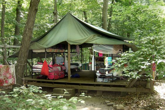 Girl Scout Camp Platform tents with bunk beds and foot lockers..oh yes..Camp Go Seek...and bats..