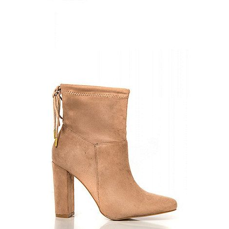 Quiz Taupe Tie Back High Heel Ankle Boots | Debenhams