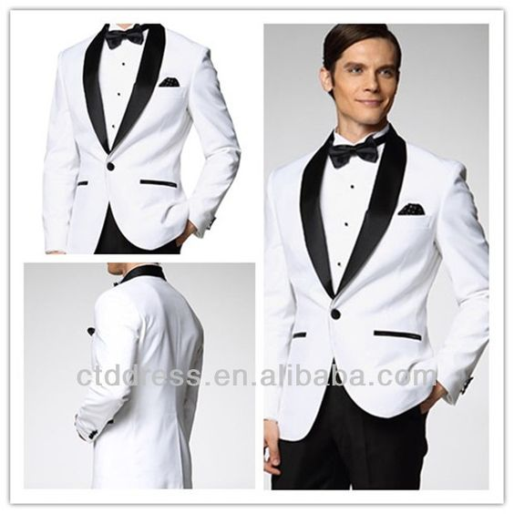 2016 New Style White With Black Shawl Lapel Custom Tailor Made