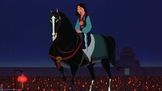 Mulan, sstylized, but reflecting the type of Chinese horse seen in traditional art