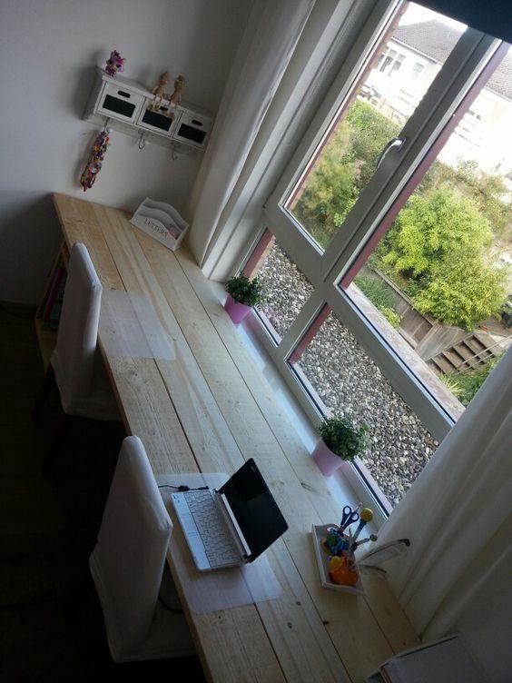 Bureau steigerhout kinderkamer kinderkamer idee n pinterest bureaus en bureau 39 s - Petit espace ontwerp ...