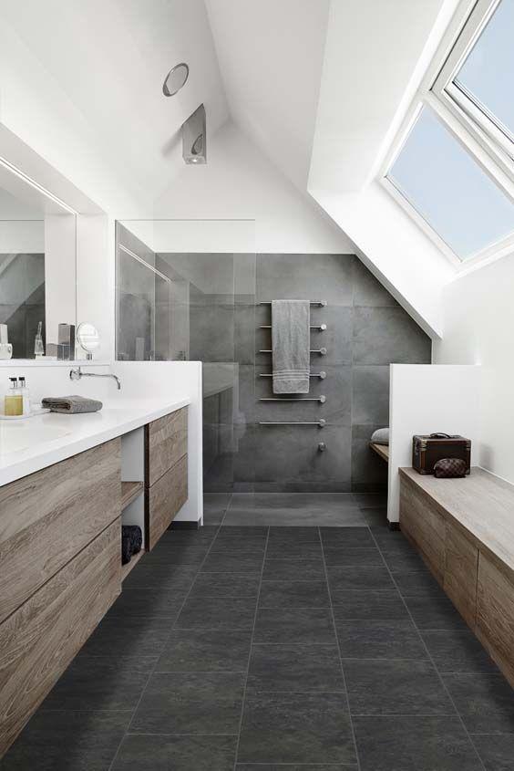 Vloors Perlato Dark Badezimmer Badezimmer Dachgeschoss Badrenovierung