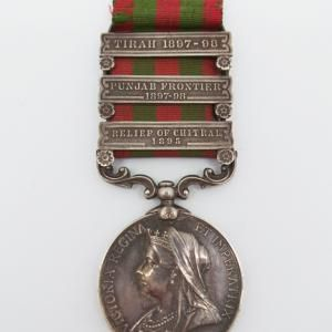 1895 India General Service Medal (Clasps - Relief of Chitral 1895, Punjab Frontier 1897-98, Tirah 1897-98) - Pte. B. Smith, 2nd Bn. King's Own Scottish Borderers | Cultman Collectables