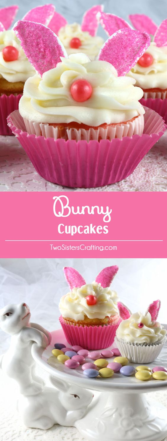 Bunny Cupcakes – adorable, yummy and very easy to make. We promise, anyone can make these super cute Easter treats! We have all the directions you'll need to made these fun cupcake Easter dessert. Follow us for more great Easter food ideas.: