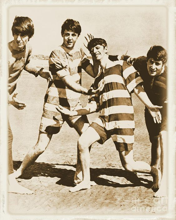 """Saturday July 27, 1963 Weston Beach, Southampton, England: Photographer Dezo Hoffmann filmed the Beatles at Weston Beach on go-carts and fooling around during photo shoots. """"They loved dressing up in silly costumes, John kept his on at the hotel long after the session was over."""" -Dezo Hoffmann"""