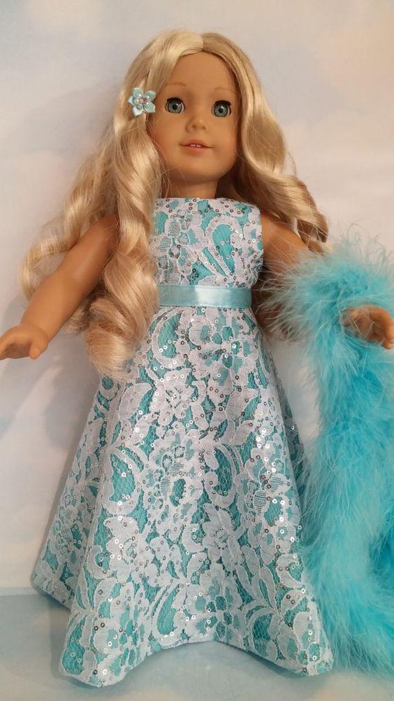 18 inch doll clothes 226 Aqua Lace Gown von susiestitchit auf Etsy