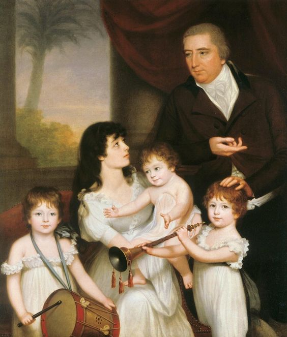 Portrait of Sir William Fairlie and Family 1800, Robert Home