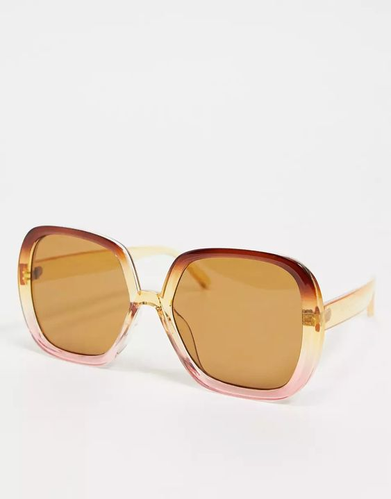 ASOS DESIGN recycled frame oversized 70s square sunglasses in crystal brown to pink fade