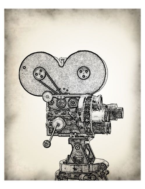 Vintage movie camera film graphics