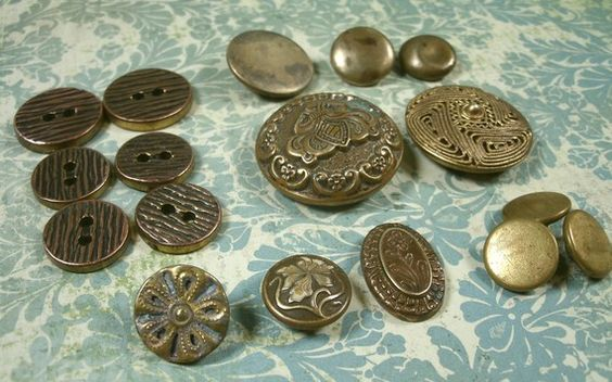 Antique Buttons  Vintage Mixed Lot of 17 Brass by madampickay, $9.00