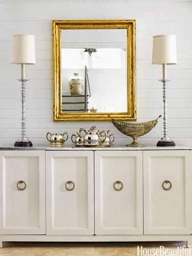 White Console With Gold Framed Mirror Buffet Lamps Amp Silver Table Top Vignettes Pinterest