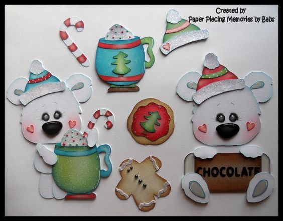 Premade Paper Pieced Polar Bear Cocoa Set for Scrapbook Pages by Babs