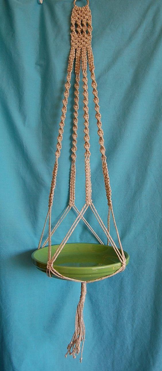 Just Hemp Macrame Plant Hanger No Beads by FunkyJunkyVintage, $40.00