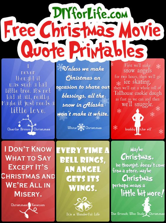 christmas movie printables free printables for home alone christmas vacation elf the grinch polar express and it s a wonderful life pinterest