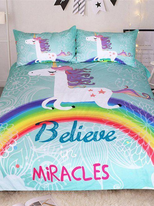 Unicorn Letter Print Sheet Set Rainbow Bedding Unicorn Bed Set Duvet Bedding Sets