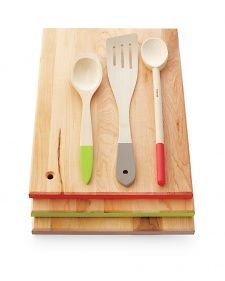 Prevent cross-contamination while cooking by color-coding wooden kitchen utensils with paint.