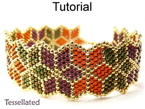 Beading Tutorial Pattern Bracelet - Brick Stitch Christmas Poinsettia Autumn Leaf Bracelet - Simple Bead Patterns - Tessellated #10068: