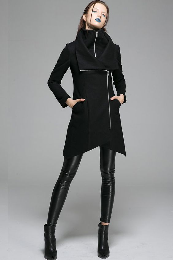 asymmetrical coat Black Coatwool jacketwool jacket modern coat
