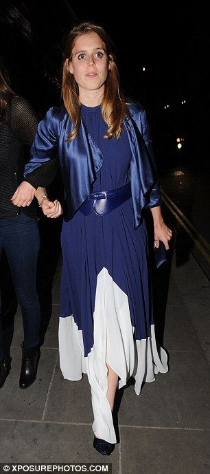 Princess Beatrice looked strikingly similar to her mother in a Saloni Women's Blue Iris Dr...