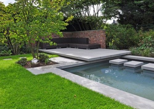 outdoor patio lounge above water garden design - a new concept of