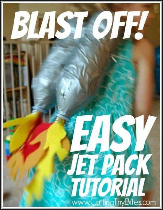 Super simple jet pack tutorial to use for outer space theme or craft. You have the materials at home, and can whip this up in 30 minutes. Would be a great Halloween costume for an astronaut, too!