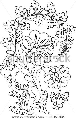 Stock Images Similar To Id 355766669 Hungarian Folk Art Coloring Pages Folk Embroidery Embroidery Designs