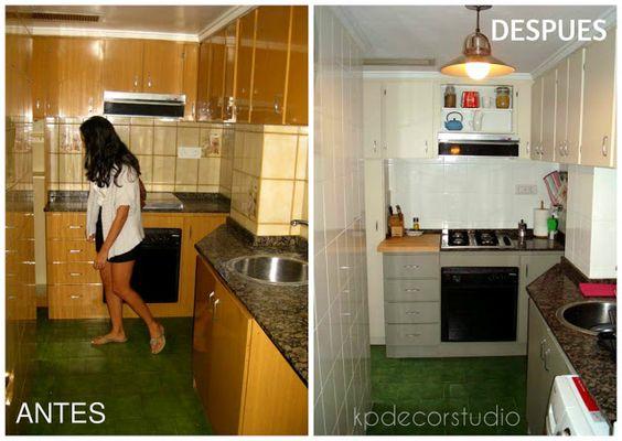 Como pintar azulejos antes y despues de reforma cocina for Pintar azulejos cocina