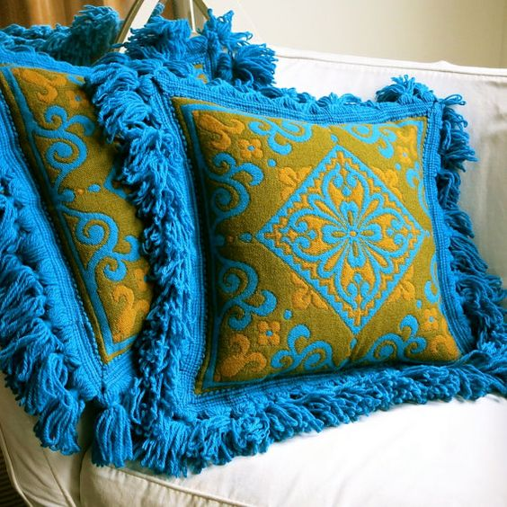 Vintage Italian Wool Damask Pillow Cover - Mid Century BaroqueTurquoise Teal Gold Fringe - NOS Never Used