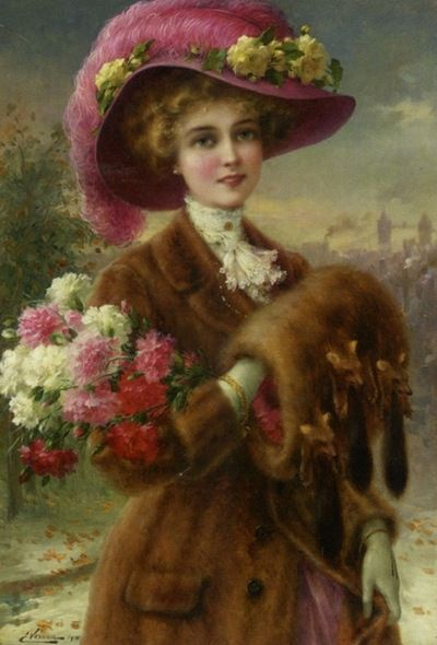 """Victorian maiden in fur coat...muff...roses....hat...the-garden-of-delights:    """"Winter Beauty"""" by Emile Vernon (1910).:"""